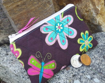 Butterfly Coin Purse, Girls Zipper Wallet, Quilted Change Purse