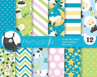 80% OFF SALE Counting sheep digital paper, commercial use, sheep scrapbook papers, kids background, lamb animals - PS788