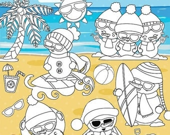 80% OFF SALE Summer snowman digital stamp commercial use, vector graphics, digital stamp,  - DS1043