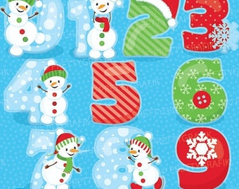 80% OFF SALE Snowman numbers clipart commercial use, fruit vector graphics, digital clip art, digital images, christmas - CL933