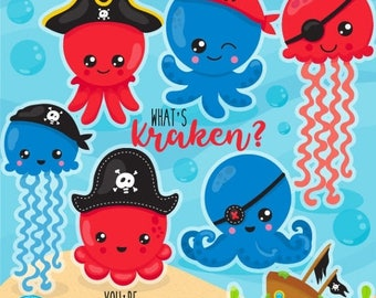 80% OFF SALE Pirate Octopus clipart commercial use, Octopi vector graphics, pirate animals digital clip art, octopus digital images - CL1074