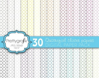 80% OFF SALE Quatrefoil clover digital paper, commercial use, scrapbook papers, background  - PS570