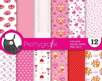 80% OFF SALE Valentine digital papers, commercial use, fox scrapbook papers, valentine papers, background - PS844