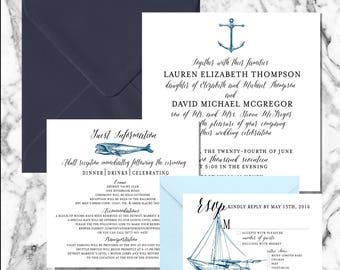 Nautical wedding invitation - DEPOSIT