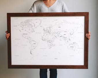 Push Pin Travel Map, World Map, Framed World Map, Push Pin Map, World Map Wedding, Travel Map, Travel Gifts, Gift for Men, Valentine's Gift