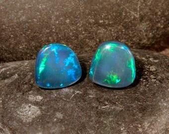 Sterling Silver Ethiopian Opal Trapezoid Stud Earrings, #101-00269