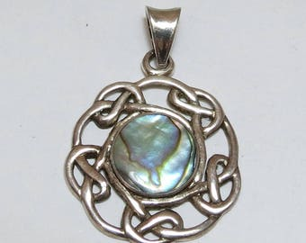 Vintage Sterling Silver Celtic Knot Pendant with Shell Inlay