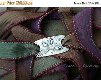 4th of July Sale Silk Ribbon Wrap Bracelet Leaves Fine Silver Yoga Bracelet Earthy Bracelet Eco Jewelry Boho Bracelet Hand Dyed Silk