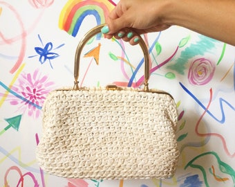 Vintage 60s Bag/ 60s Cream Macrame Brass Handbag/ Crochet Purse