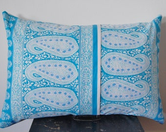 Paisley Blue and White Throw Pillow Pattern Print Handmade / Featherdown Insert 24 x 16 INCH