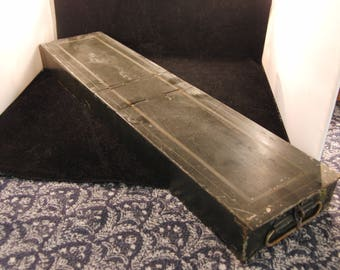Vintage metal safety deposit box empty
