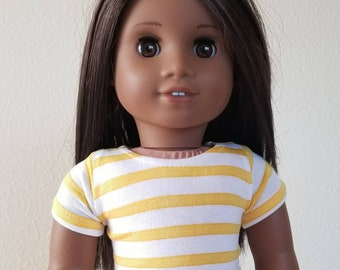 Yellow and white Striped Tshirt for 18 inch dolls by The Glam Doll