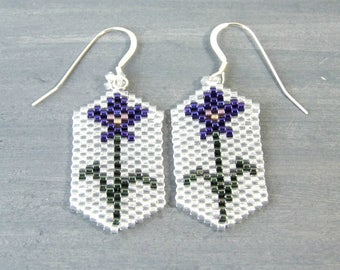 Purple Iris Earrings, Hand Woven Seed Bead Jewelry, Pretty Floral Earrings, Unique Handmade Gifts for Her, Sterling Silver Beadwork Jewelry