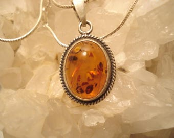 """Vintage Cognac Amber Cabochon Sterling Pendant And 18"""" Necklace"""