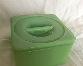 Jadeite Square Vintage Canister - small chip on lid