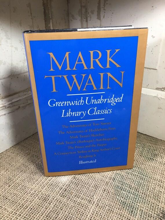 Mark Twain Greenwich unabridged library classics copyright 1982, beautiful hardback book with dust jacket, Mark Twain Sketches, huckleberry