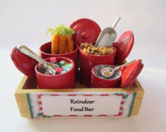 Dollhouse Miniatures - Christmas Reindeer Food Bar in Wooden Crate - Handmade with Flying Dust, Carrots, Crunch & Candy !