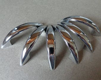 Vintage JB Small Chrome Silver Pulls 6 metal Cabinet handles 2 inch centers Hardware Mid Century Modern come with screws