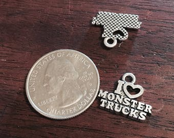 Antique Silver I Love Monster Trucks Charms 4 QTY