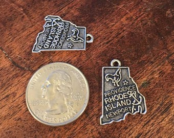 2 Antique Silver Rhode Island State Charms