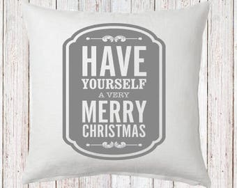 have yourself a merry little christmas Pillow and Insert Christmas Decoration Christmas Saying Holiday Pillow Red White Christmas