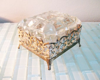 Clear Glass Cigarette Box - Trinket Box Metal Stand Mid Century