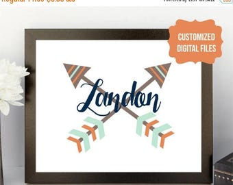 CHRISTMAS in JULY SALE Name arrow sign Digital Download Nursery child room decor customized boy girl tribal blue brown