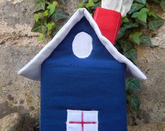 Blue, white and Red House with handkerchiefs