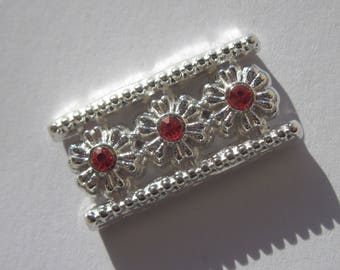Insert rectangular silver metal with Rhinestone 13 x 26 mm (C5)
