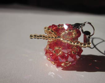 Christmas purse and glass beads - 2 cm high (O4)