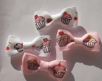 4 mixed colors 30mm approx - fabric bow (A187