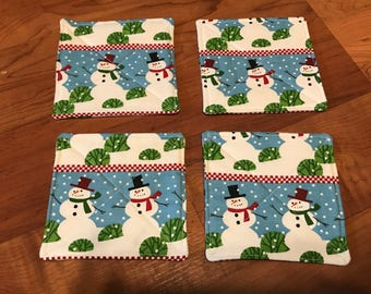 Quilted Coasters - set of 4 - Christmas Smowman