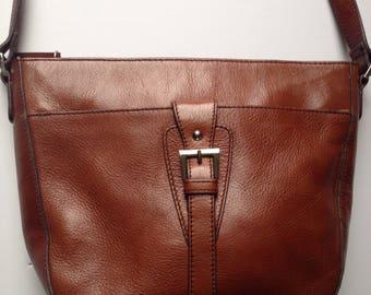 Vintage Etienne Aigner Handbag Genuine Zleather Adjustable Shoulder Strap Zipper Pockets Clean Interior Gold Buckle Detail Hipster 1980s