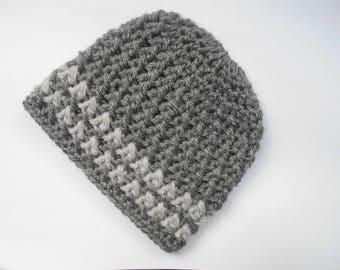 baby boy Hat hand knit grey
