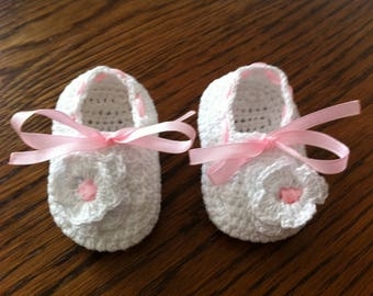 cotton crochet baby shoes