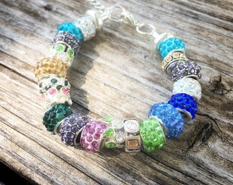 Beach Blues, Greens and Sandy Tones European Beaded Bracelet - MY LIFE SERIES by Precision Princess
