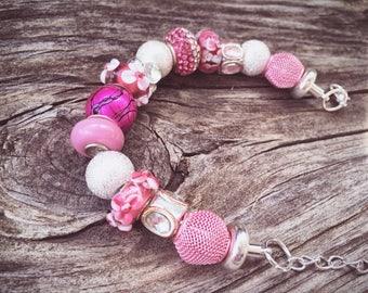 Pink Floral & Rhinestone European Beaded Bracelet MY LIFE SERIES by Precision  Princess