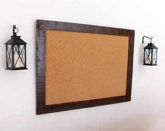36 x 48 FRAMED CORK BOARD - Bulletin Board - Industrial - Distressed - Shown in Dark Chocolate - 36 x 48 - More Colors Available