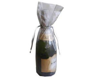 Silver Bottle / Wine Organza Gift Bag