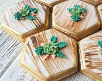 Small Hexagon Succulent Sugar Cookies - 1 Dozen perfect for weddings favors!