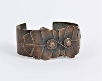 Vintage 1940's Rebajes Copper Cuff with Leaves