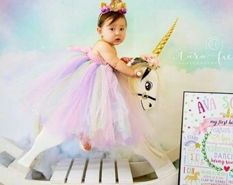 Beautiful baby girl first birthday tutu dress unicorn theme in pastel colors for 12-18 months with beautiful unicorn headband