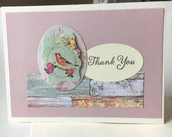 Thank You Greeting Card - Blank Inside - 4.5 x 6.25 - Floral Chic