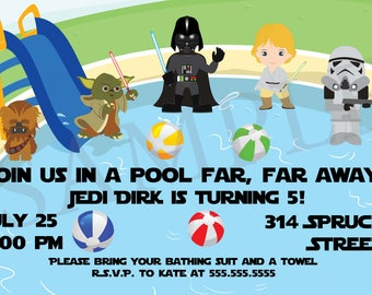 DIY Star Wars Birthday Swim/Pool Party Invitation