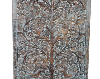 KALPAVRIKHA - Tree of Dreams -Wish Fulfilling Tree - Distressed Wood Peacock Carving Floral Wall Sculpture Decor
