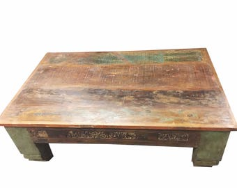 Shabby Chic  Antique Coffee Table Low Floor Corbels Wooden Tables, Chai Table FREE SHIP Cyber sale