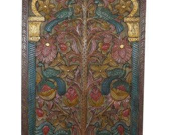 Hand Carved Door Panel KALPAVRIKSHA Tree of Dreams- Wish Fulfilling Tree-Colorful Floral Eclectic Decor  FREE SHIP Early Black Friday