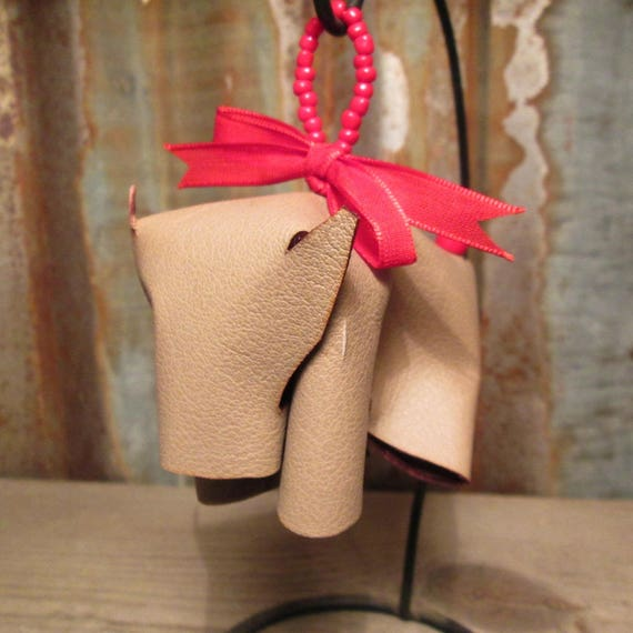 Leather Cow Christmas Ornament with Red Ribbon
