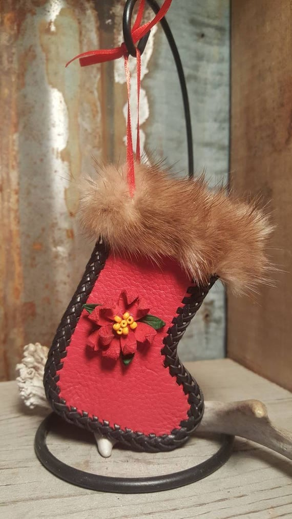 Red leather stocking Christmas ornament