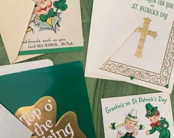 Vintage St Patrick's Day Cards, 4 Greeting Cards